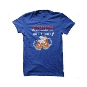 Beer t-shirt sporting blue top pressure level