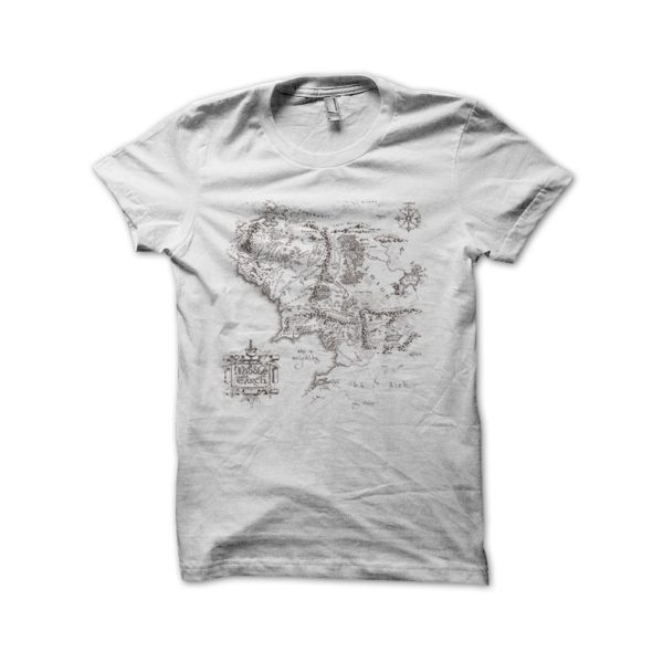 Middle Earth Map Tee Shirt White