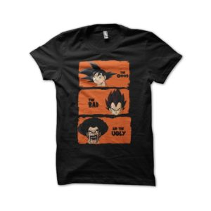 Shirt DBZ characters parody the good the bad and the ugly black