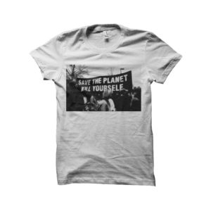 Shirt save the planet kill yourself white