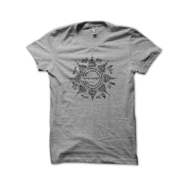 Shirt sulked Muay Thai temple from thailand gray