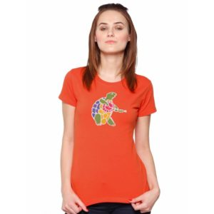 Shirt turtle peac and love orange