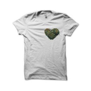 Shirt white heart cannabis weed