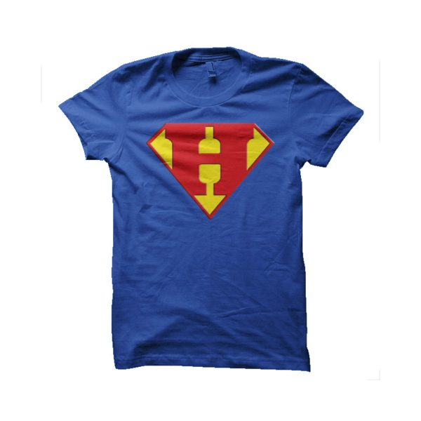 Superman logo with a Blue H