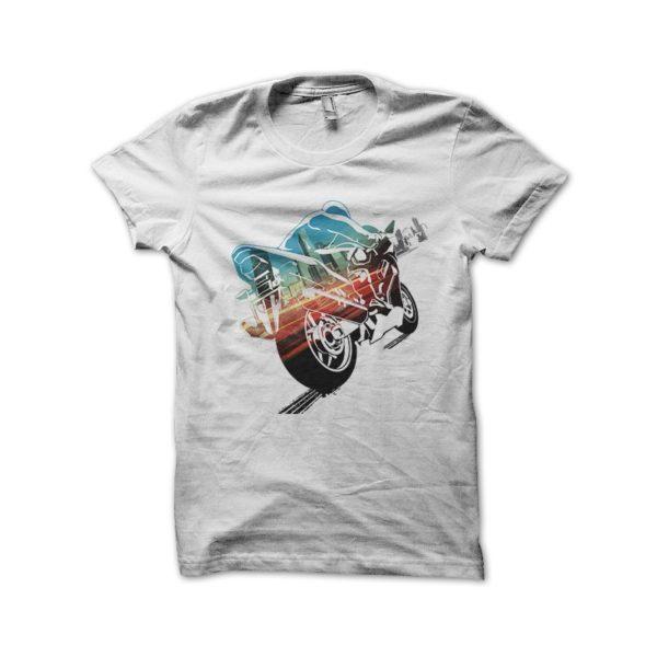 T shirt Burnout Paradise Bike white