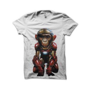 T-shirt iron man white monkey
