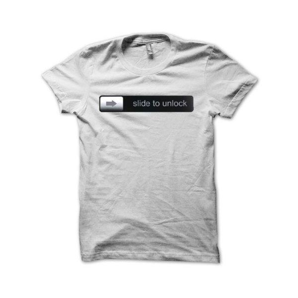 T-shirt slide to unlock parody Apple iphone black-white