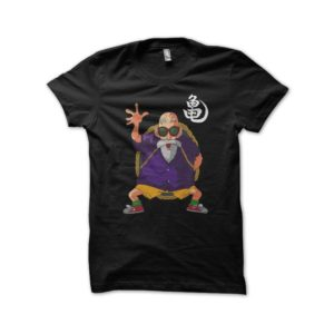 T-shirt turtle hermit Jackie Chun dragon ball black