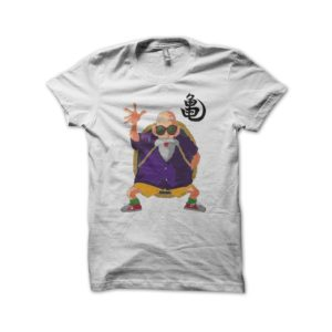 T-shirt turtle hermit Jackie Chun dragon ball white