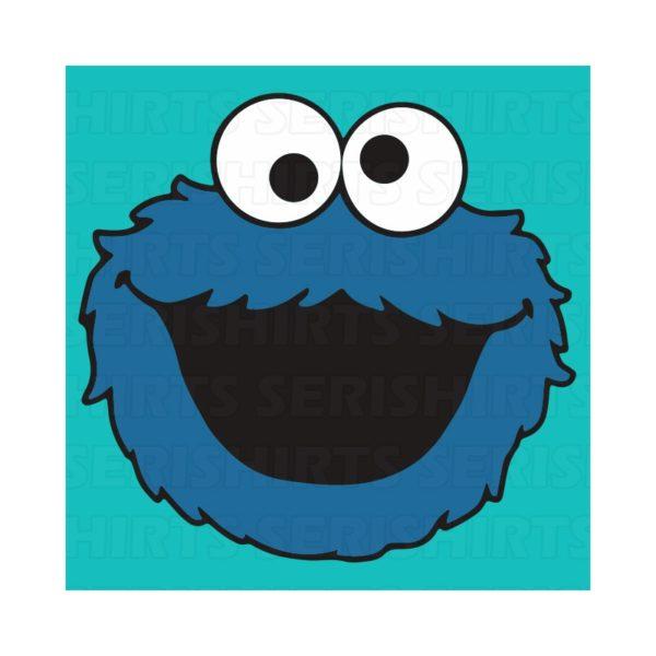 Tee Shirt sesame street cookie monster blue light