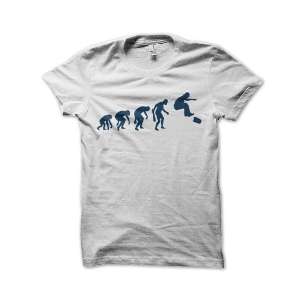 Tee shirt skateur evolution blanc