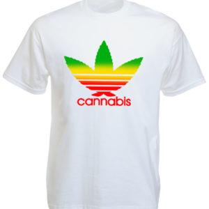 Adidas Logo Cannabis White Tee-Shirt