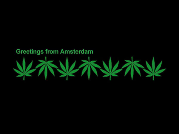 Greetings From Amsterdam Cannabis Black Tee-Shirt