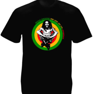 One Love and Peace Jah Live Bob Marley Black Tee-Shirt