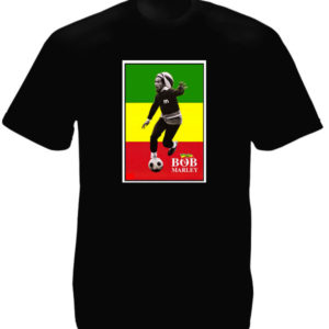 Bob Marley Playing Soccer Black Tee-Shirt