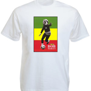 Bob Marley Playing Soccer White Tee-Shirt