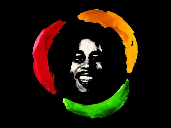 Happy Bob Marley Black Tee-Shirt