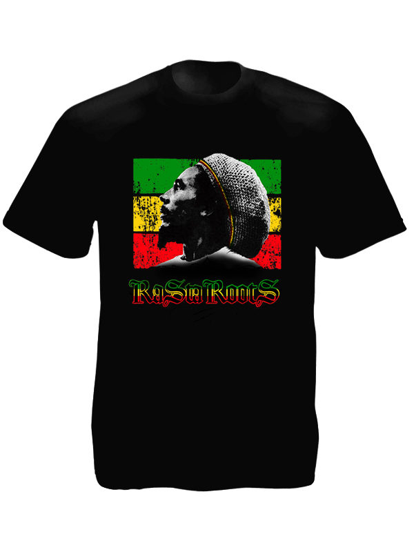 Bob Marley Portrait Rasta Roots Black Tee-Shirt