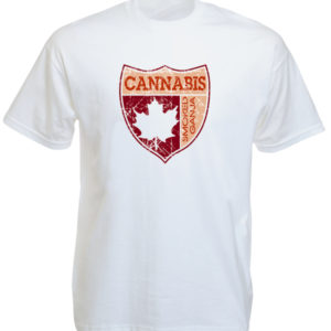 Arms of Canada Cannabis Maple Leaf White Tee-Shirt