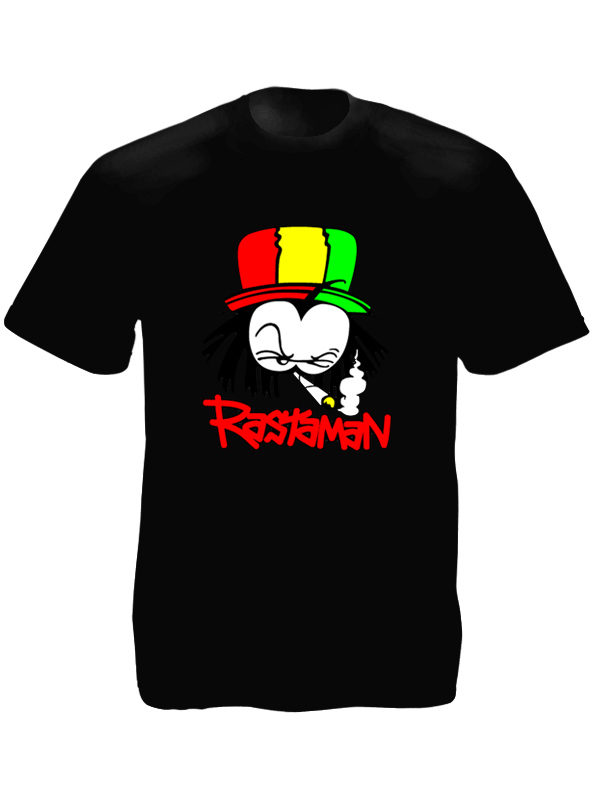 Rasta Cartoon Dready Rastaman Black Tee-Shirt