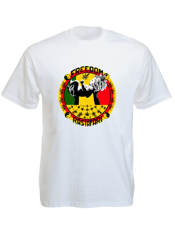 Freedom Jamaïcan Rastafari White Tee-Shirt