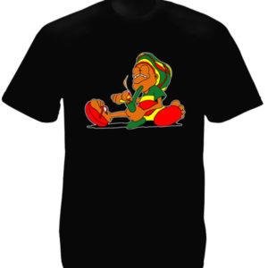 Rastaman Smoking Pipe Black Tee-Shirt
