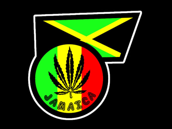 Ganja Leaf Jamaica Flag Black Tee-Shirt