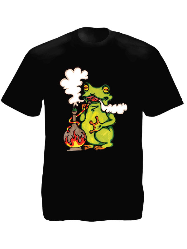 Frog Smoking Pipe Black Tee-Shirt