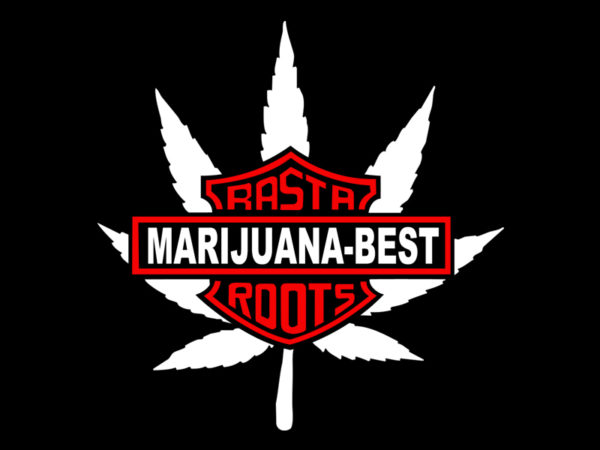 Harley Davidson Marijuana Best Rasta Roots Black Tee-Shirt
