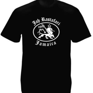 Jah Rastafari Jamaica Rasta Lion Black Tee-Shirt
