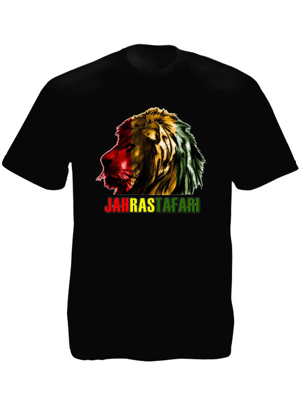 Jah Rastafari Lion Head Black Tee-Shirt
