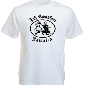 Jah Rastafari Jamaica Rasta Lion White Tee-Shirt