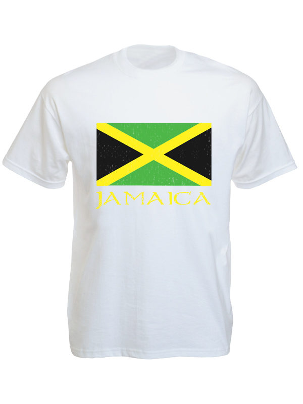 Jamaica Green Yellow Black Flag White Tee-Shirt