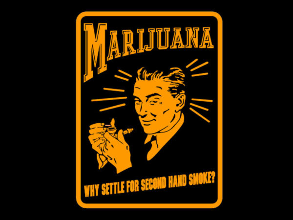 Marijuana Advertising Retro Poster Black Tee-Shirt