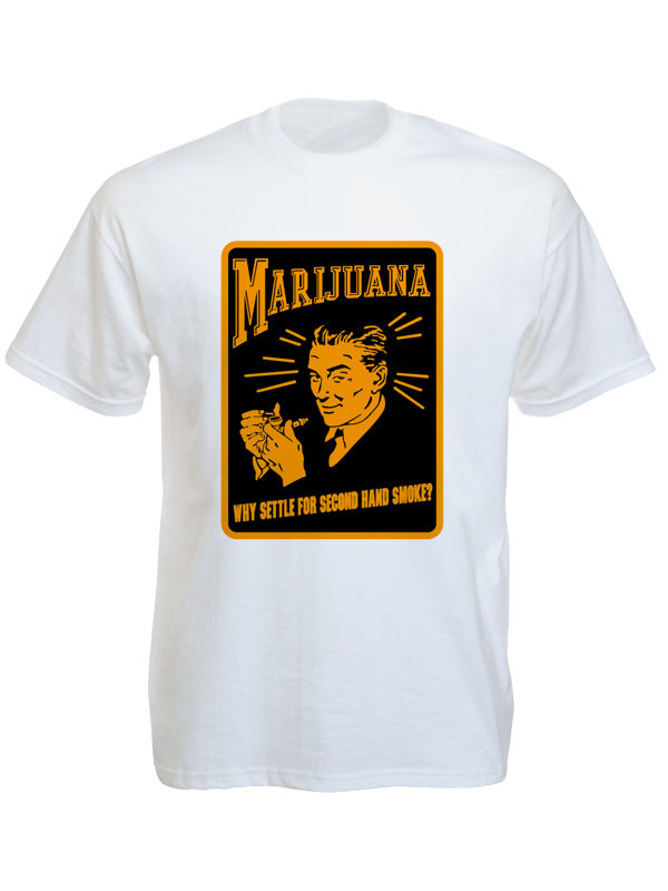 Marijuana Advertising Retro Poster White Tee-Shirt