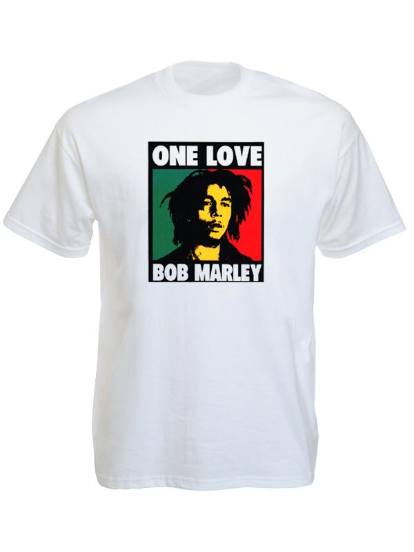 24cae96ea325b Bob Rastaman One Love Album White Tee-shirt - Black-White-Tshirt.com