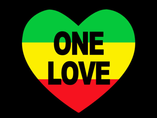 One Love Rasta Colors Heart Black Tee-Shirt