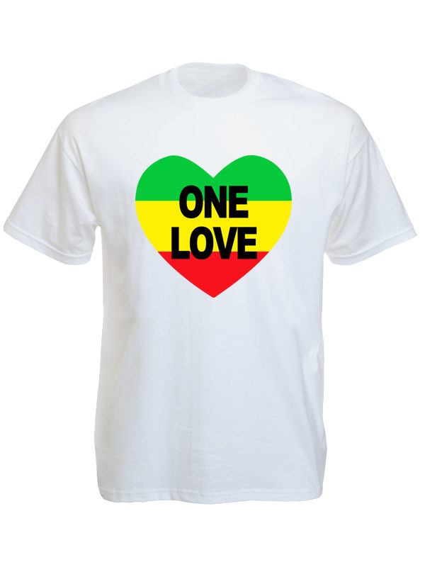 One Love Rasta Colors Heart White Tee-Shirt
