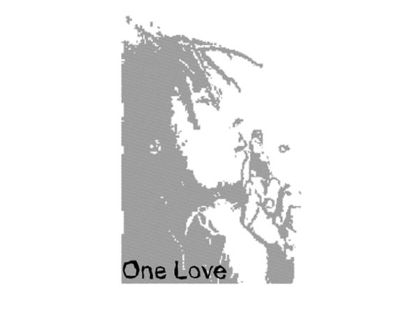 Black and White Bob Marley One Love White Tee-Shirt