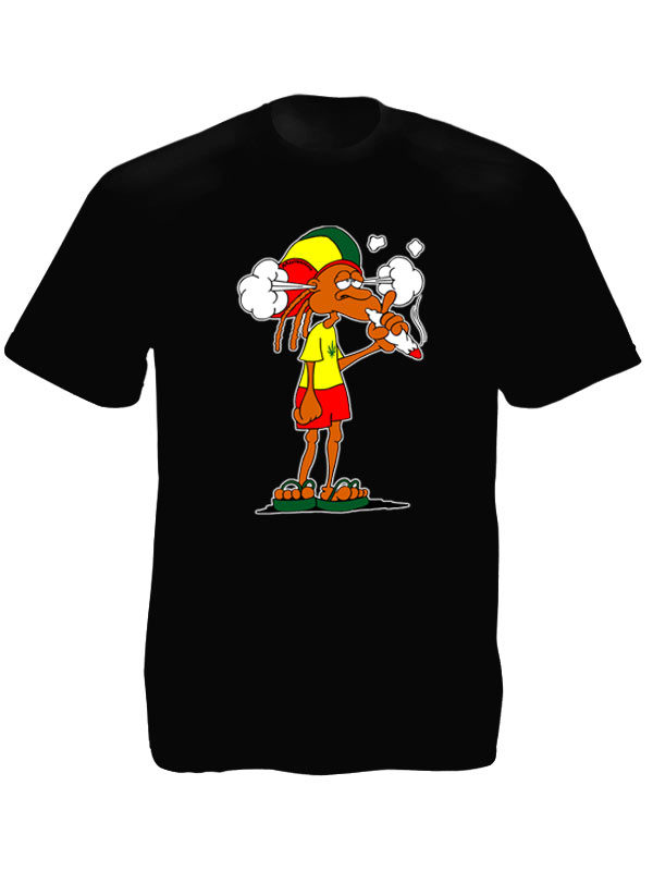 Rastaman Smoking Ganja Black Tee-Shirt