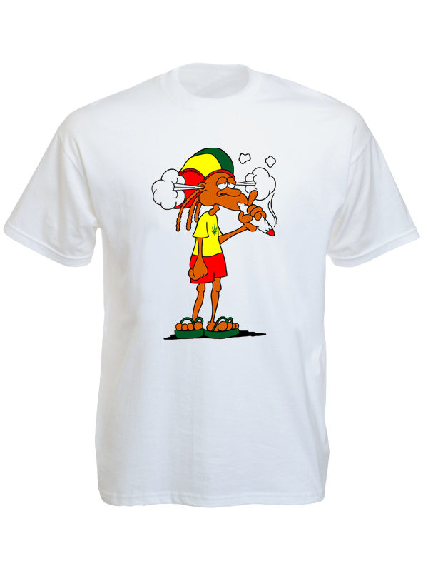 Rastaman Smoking Ganja White Tee-Shirt