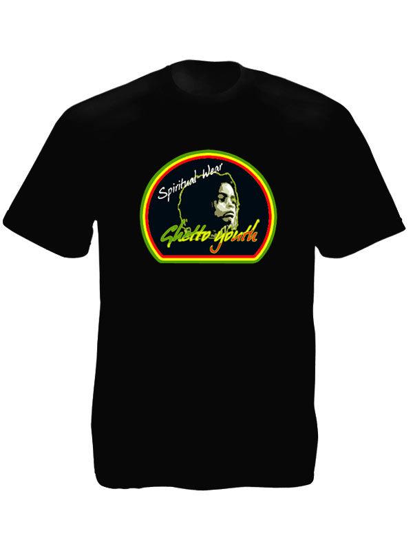 Ghetto Youth Rastafari Spiritual Wear Black Tee-Shirt