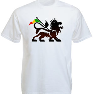 Lion of Judah Rasta Flag White Tee-Shirt