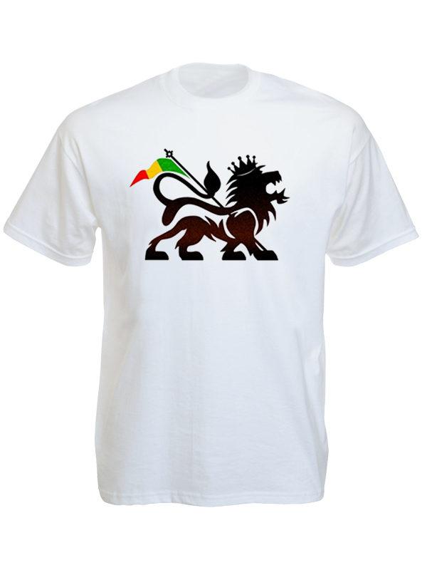 Lion of Judah Rasta Flag White Tee-Shirt