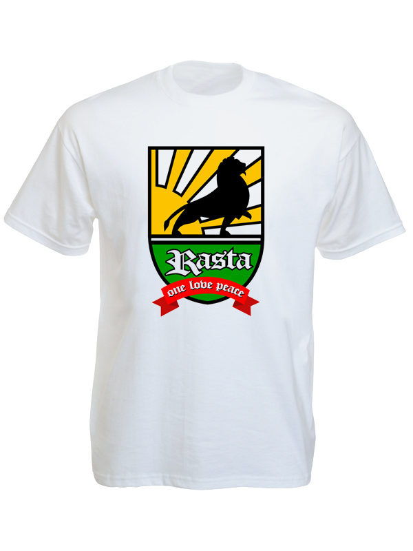 Lion of Judah Rasta Badge White Tee-Shirt
