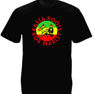 Bob Marley Rasta Roots Lion Black Tee-Shirt