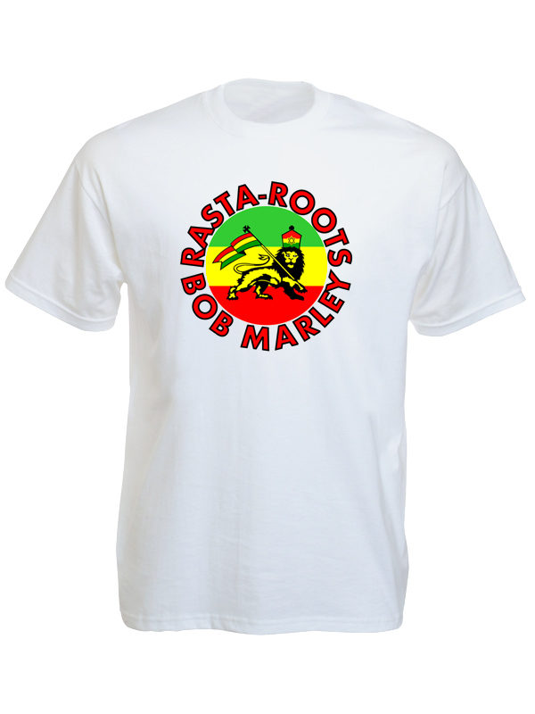 Bob Marley Rasta Roots Lion White Tee-Shirt