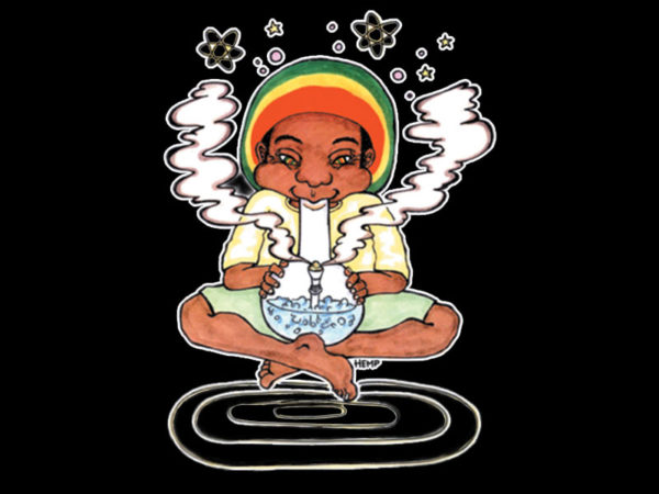 Bong Smoking Rastaman Black Tee-Shirt
