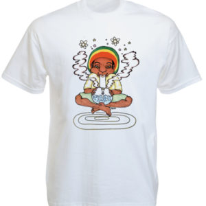 Bong Smoking Rastaman White Tee-Shirt