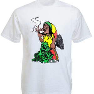 Rastaman Smoking Ganja Joint White Tee-Shirt